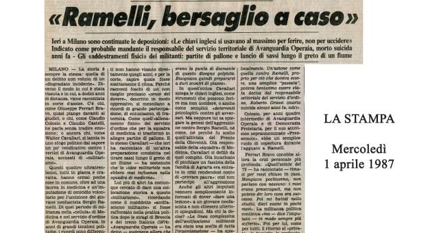 Dagli archivi Lorien: La Stampa 1° aprile  1987 / Sergio Ramelli (dal Corriere della sera.it 20-04-2015)